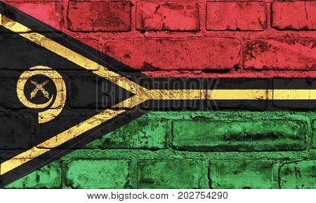 Vanuatu flag painted on the brick wall