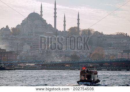 Istanbul Turkey - 17 November 2013 : Sea front landscape of Istanbul historical part Turkey famous city. Tourist Istanbul city landscape. Istanbul landscape Turkey. Sea view of Istanbul. Outdoor Istanbul city. Turkey landmark Istanbul