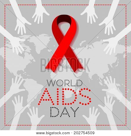 World AIDS Day. 1st December World Aids Day poster. Vector illustration