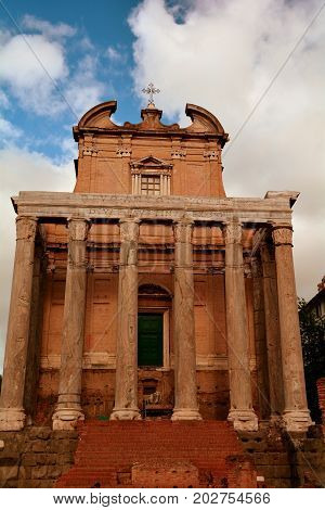 The temple of Antoninus and Faustina can be found in the Forum in Rome Italy.