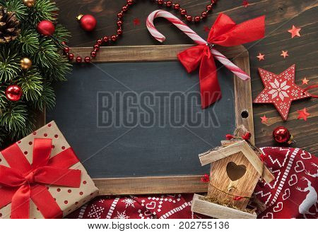 Christmas background with a present decor and place for text