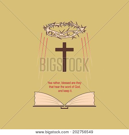 Religious symbols with the biblical verse. Vector image symbolizing salvation through the Bible and the word of God.