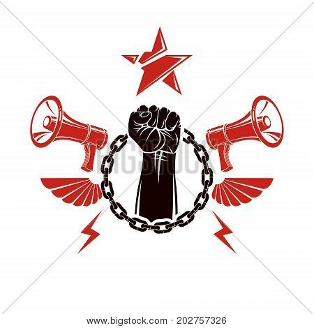 Vector flyer template created using clenched fists raised up loudhailer equipment and iron chain element. Freedom for the personality misleading and brainwashing propaganda information.