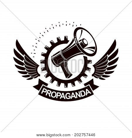 Vector winged logo composed with megaphone equipment surrounded by engineering cog wheel. Proletarian revolution abstract sign political propaganda.