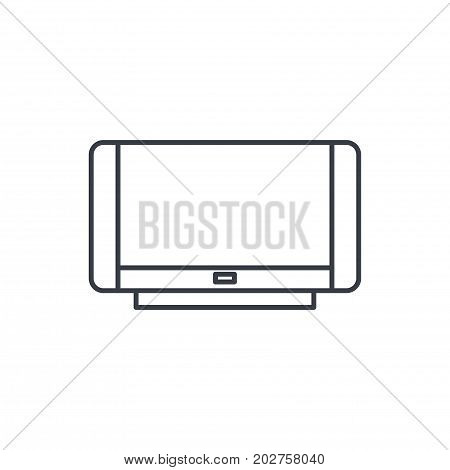 high resolution 4k tv thin line icon. Linear vector illustration. Pictogram isolated on white background
