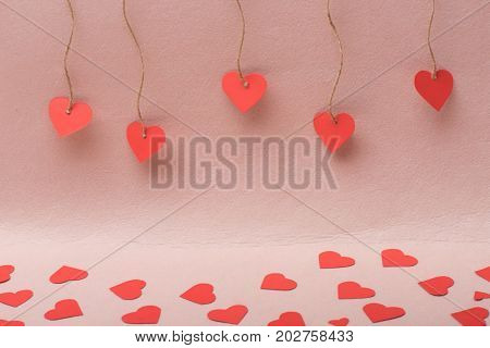 Lots Of Paper Hearts Making Path On Pink Background