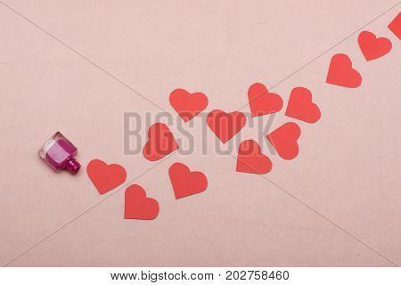 Path Of Paper Hearts On Light Pink Background, Top View
