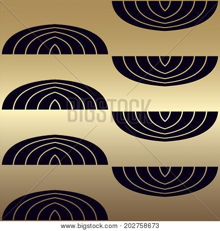 Pattern In Art Deco Retro Vintage Style Of 1920S With Golden Gradient. Vector Illustration.