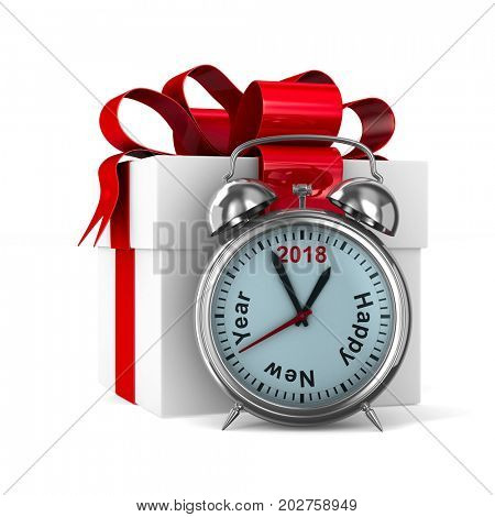 alarm clock and white gift box. Isolated 3D illustration