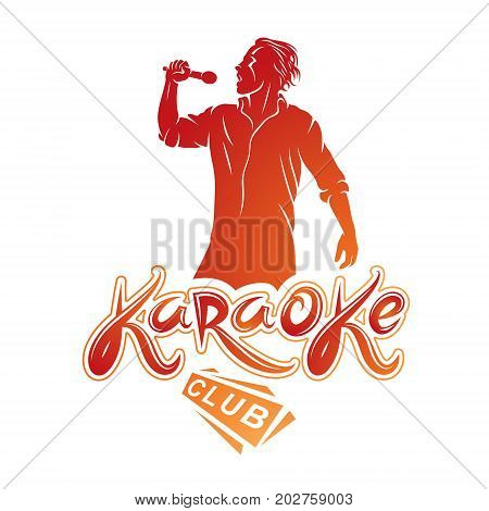 Man sings karaoke karaoke club emcee show advertising vector emblem composed with microphone audio equipment and musical notes.