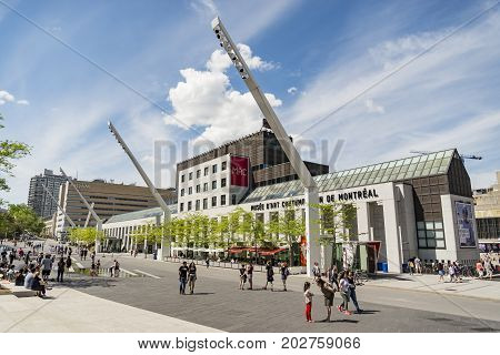 MONTREAL - MAY 28: Musee d'art contemporain de Montreal. The MACM was the first institution in Canada devoted exclusively to contemporary art and Complexe Desjardins is a mixed-use office on May 28 2017 in Montreal Canada