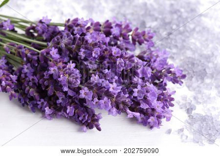 Bouquet of lavender on a white wooden background. Lavender bath salt.