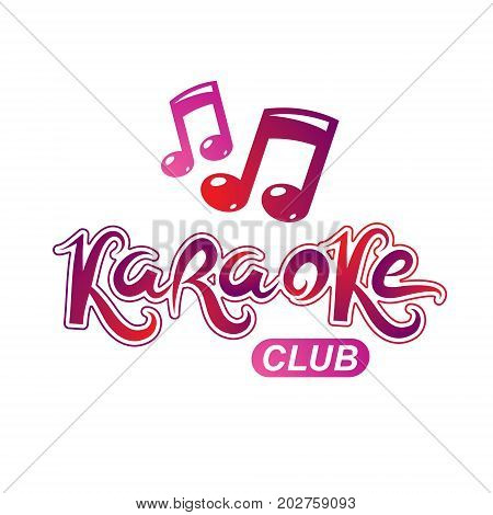 Karaoke club vector emblem created using musical notes design elements for karaoke club flyers cover design.