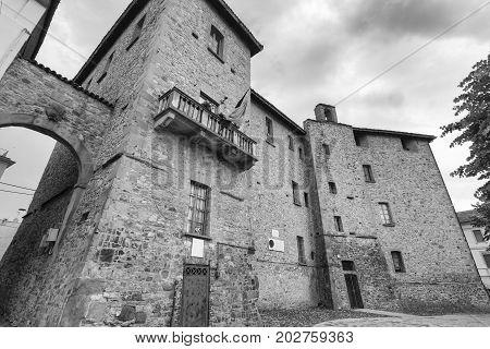 Pianello Val Tidone (Piacenza Emilia Romagna italy): exterior of the medieval castle. Black and white