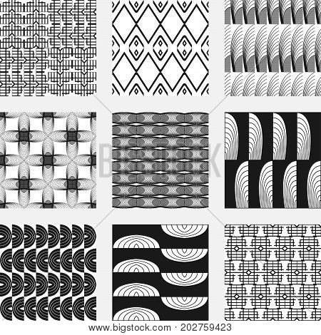 Set Of Seamless Patterns In Art Deco Retro Vintage Style Of 1920S. Vector Illustration.