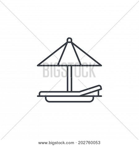 beach umbrella, sunbed, vacation tanning thin line icon. Linear vector illustration. Pictogram isolated on white background