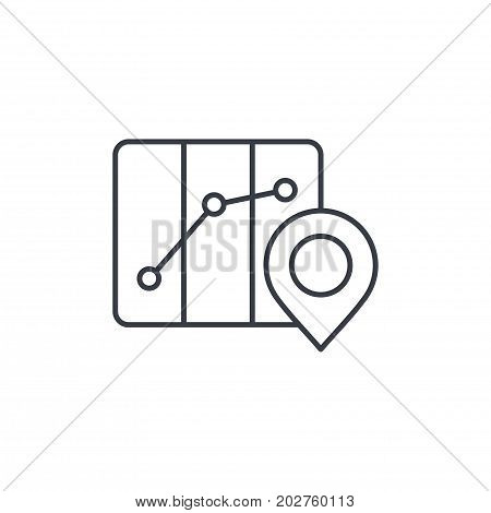 route marker, itinerary map and pin thin line icon. Linear vector illustration. Pictogram isolated on white background