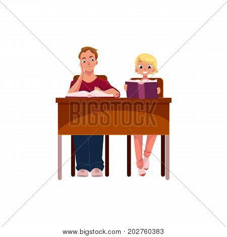 People, man and woman reading books in library, sitting at the table, cartoon vector illustration isolated on white background. Young people, students, man and woman reading, studying in library