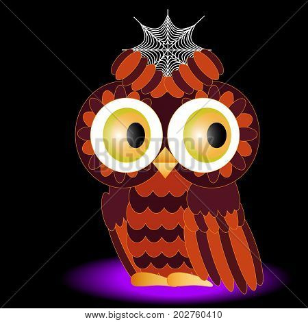 An Owl Painted In Colors Of A Halloween, With A Cobweb Between Brows On A Black Background
