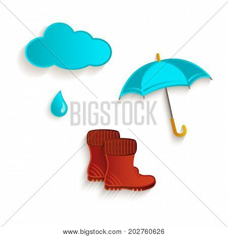 vector cartoon autumn symbol objects set. Isolated illustration on a white background. Rain cloud, umbrella and rubber boots. Autumn object concept