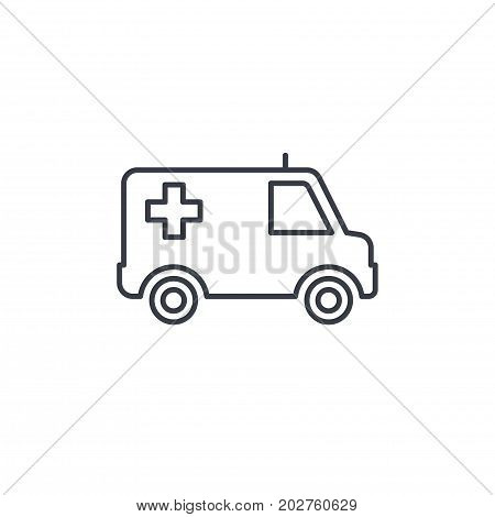 ambulance, medical car thin line icon. Linear vector illustration. Pictogram isolated on white background