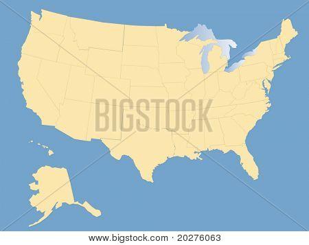 Karte der USA, leer