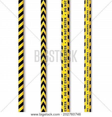 vector yellow black police tape set. Flat cartoon isolated illustration on a white background. Yellow danger tape with black stripes enclosing for forencics, investigators.