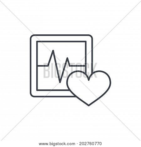 ECG, cardiogram thin line icon. Linear vector illustration. Pictogram isolated on white background