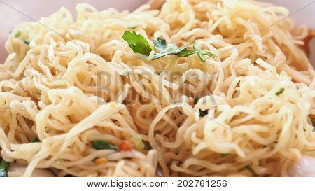 Egg noodle scald menu macro photo extra close up see detail Is Asian food. poster