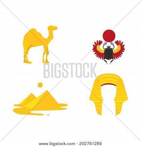 Set of Egypt symbols - pharaoh headdress, camel, pyramids, scarab beetle, flat cartoon vector illustration isolated on white background. Set of Egyptian symbols - scarab, pyramids, crown and camel