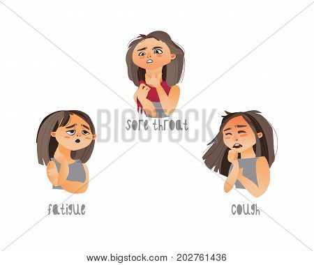 Vector young sick girls set suffering from different disease symptoms -, sore throat , fatigue, cough. Flat isolated illustration on a white background. Illness symptoms concept
