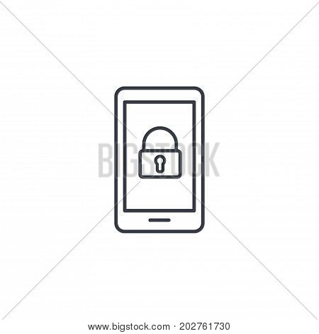smartphone device password, digital data secure lock, padlock access thin line icon. Linear vector illustration. Pictogram isolated on white background