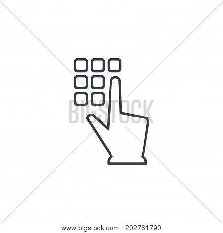 Pin code keypad, access security lock, hand pushing thin line icon. Linear vector illustration. Pictogram isolated on white background