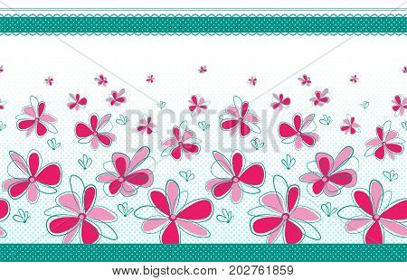 Seamless texture with abstract flowers, borders and polka dots on transparent background. Swatch is included in vector file.
