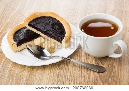 Pie With Blueberry Jam, Sugar In Plate, Teaspoon And Tea