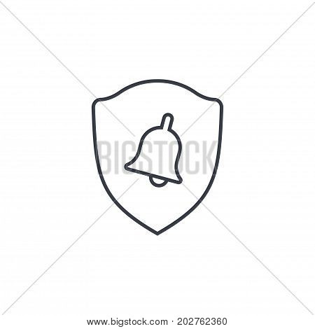 police shield and bell, security alert signal thin line icon. Linear vector illustration. Pictogram isolated on white background