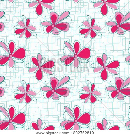 Seamless vertical pattern with abstract flowers on geometric background. Swatch is included in vector file.