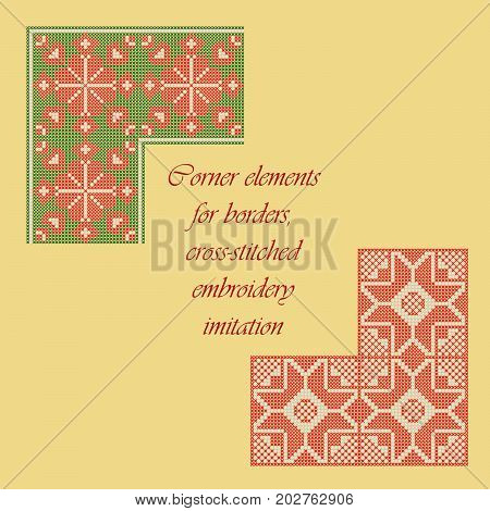 Corner elements for borders, cross-stitched embroidery imitation.