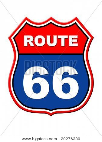 Route 66 sign. High resolution illustration poster