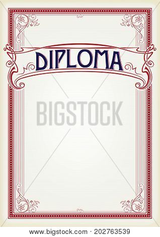 Decorative rectangular red framework and banner. Template for diploma, certificate, card, label. Retro, art-nouveau style. A3 page size. Banner is removable.