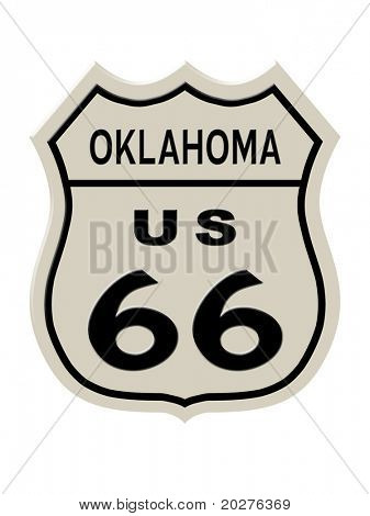 Route 66 sign, Oklahoma state. High resolution illustration poster