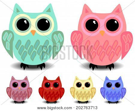 A Set Of Six Cute Owls With Black Eyes, Cartoon Style, Different Colors