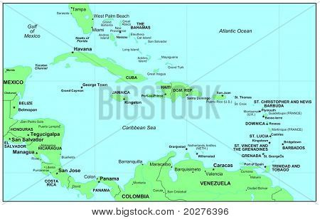 Sea maps series: Caribbean Sea