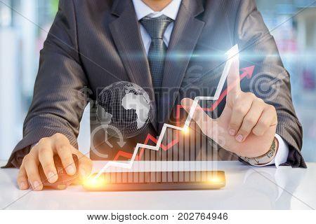 Businessman Showing Profit Growth .