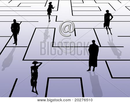 Labyrinth concept, email theme, with business people silhouettes