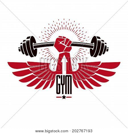 Bodybuilding weightlifting gym logotype sport club retro stylized vector emblem or badge with wings. With barbell and strong hand fist. poster