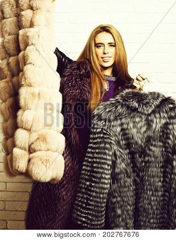 Satisfied Fashionable Woman In Fur