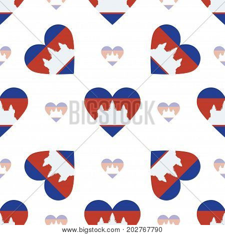 Cambodia Flag Heart Seamless Pattern. Patriotic Cambodia Flag Background. Country Flag In The Shape