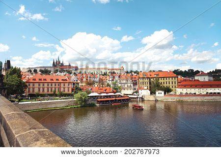 Prague, Czech Republic, View Of Prague Castle And Vltava River From The Charles Bridge