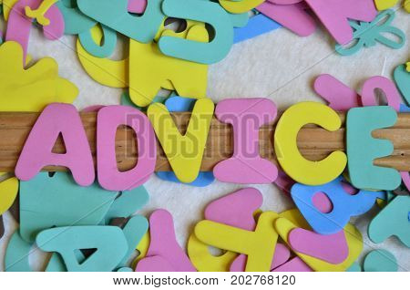 word advice on a  abstract colorful background